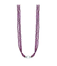 Garnet & Freshwater Pearl Necklace- Sterling Silver